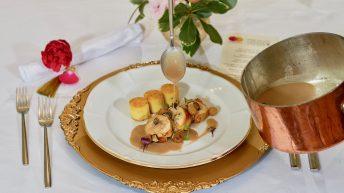 сувид токачка с манатарки и трюфелов сос, придружена с чаша Sancerre Rouge, L'Ancienne Vigne2015, Fournier Pere & Fils, Лоара, Франция